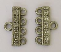 10 Antique Silver 22x13mm Multi 4 Strands Clasp  Connectors